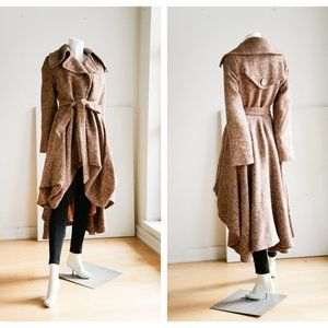 Wool Blend High Low Dress Like Belted Coat